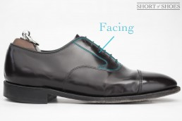 The facing on an oxford shoe.