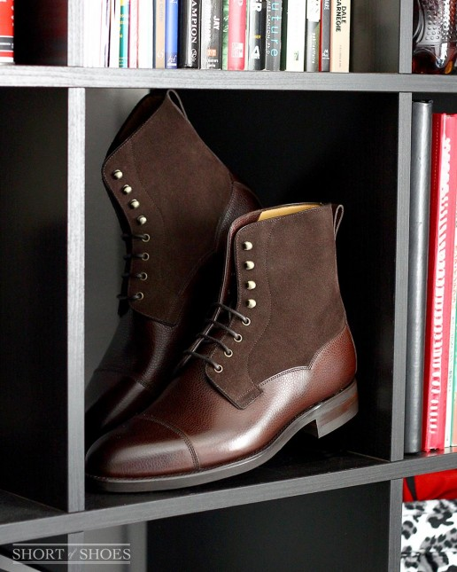 Carlos Santos Field Boot in Brown Grain and Mink Suede
