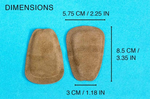 suede tongue pads size dimensions